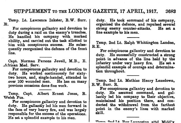 555 MC Award London Gazette, April 1917